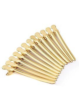 12 Pcs Colourful Stainless Steel Modelling Positioning Clamp Clip Professional Hairdressing Duck Bill Alligator Hair Clips For Girls Women Lady (Gold) by Flyott