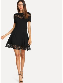 Lace Insert Fit & Flared Dress by Romwe