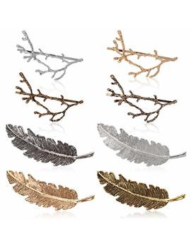 Vintage Hair Clip, Fascigirl 8 Pcs Metal Hairpin Tree Branch Alloy Feather Leaf Style Barrette Pin For Women by Fascigirl