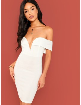 Off Shoulder Solid Bodycon Dress by Romwe