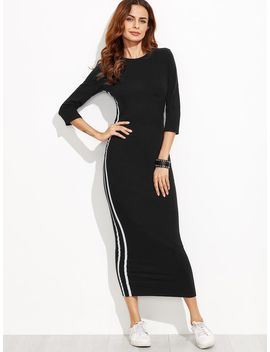 Striped Tape Fitted Long Dress by Romwe