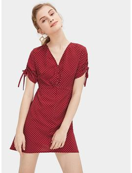 Polka Dot Drawstring Sleeve Button Front Dress by Romwe