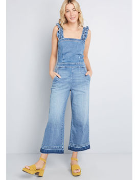 Ruffled Reiteration Wide Leg Overalls by Blank Nyc