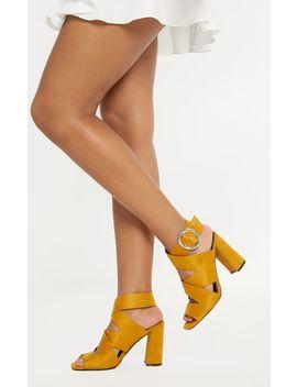 Mustard High Block Heel Buckle Sandal by Prettylittlething