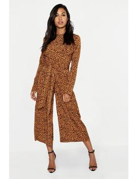Satin Leopard Twist Wrap Jumpsuit by Boohoo