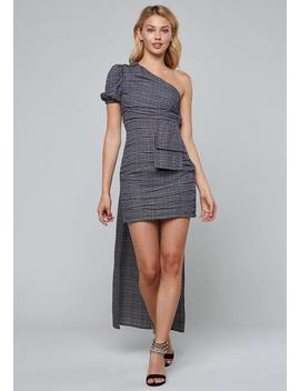 Plaid One Shoulder Dress by Bebe