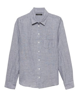 Petite Quinn Straight Fit Linen Cotton Shirt by Banana Repbulic