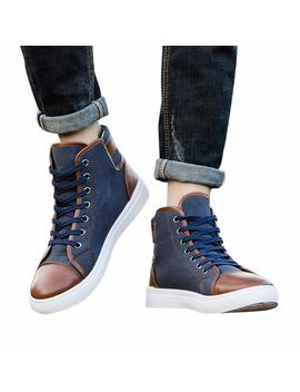 Unisex Casual Lace Up Ankle Boots Shoes Breathable High Top Flats Canvas Sneakers Shoes For Men Women 5.5 10.5 by Aritone   Men Shoes