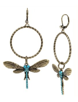 Pavé Dragonfly Hoop Statement Earrings by Betsey Johnson