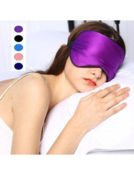 Silk Sleep Mask & Blindfold, Soft Eye Mask With Adjustable Head Strap, Deep Rest Eye Masks For Sleeping Night Eyeshade, Eye Cover For Travel, Shift Work & Meditation (Purple) by Rayhee