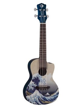 Luna Concert Ukulele With Gig Bag, Great Wave Graphic by Luna Guitars