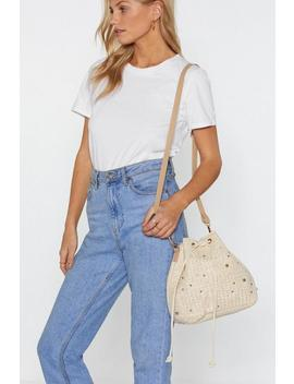 Want Drawstrings Attached Straw Shoulder Bag by Nasty Gal