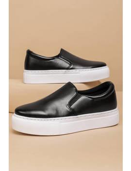 Jordyn Black Slip On Sneakers by Tobi