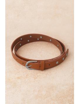 Twinkle Star Brown Studded Skinny Belt by Tobi