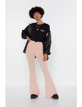 Let Your Flare Down Ribbed High Waisted Pants by Nasty Gal