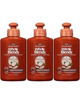 Garnier Hair Care Whole Blends Smoothing Leave In Conditioner With Coconut Oil & Cocoa Butter Extracts, 10.2 Fluid Ounce (Pack Of 3) by Garnier