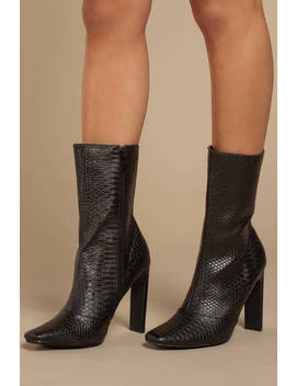 Boomslang Black Faux Snakeskin Boots by Tobi