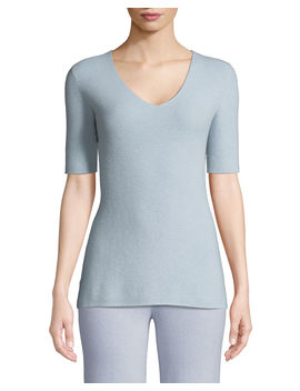 Cashmere Short Sleeve Lounge Top by Neiman Marcus Cashmere Collection