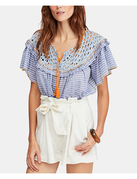Allora Allora Cotton Striped Ruffled Top by Free People