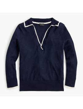 Tipped Polo Sweater In Featherweight Cashmere by J.Crew
