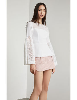 Lace Trimmed Peplum Top by Bcbgmaxazria
