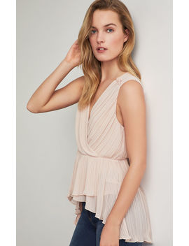 Pleated Asymmetrical Faux Wrap Top by Bcbgmaxazria