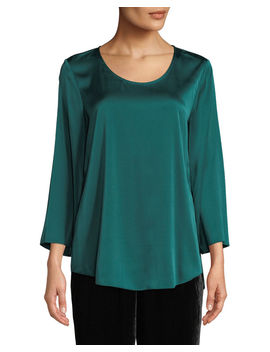3/4 Sleeve Silk Charmeuse Blouse by Eileen Fisher