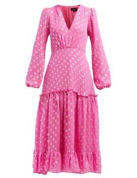 Devon Polka Dot Jacquard Silk Blend Dress by Saloni
