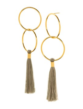 Carmen 18 K Gold Plated Double Hoop & Tassel Drop Earrings by Gorjana