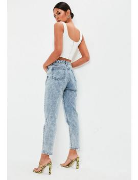 Blue Bleach Wash Key High Rise Mom Jeans by Missguided