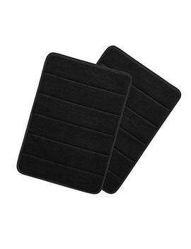 "Drhob 2 Pcs Black 17""X 24"" Non Slip Luxurious Microfiber Bathmat Absorbent Bath Rugs Memory Foam Bath Mats With Anti Skid Bottom by Drhob"