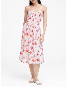 Floral Pin Tuck Midi Dress by Banana Repbulic