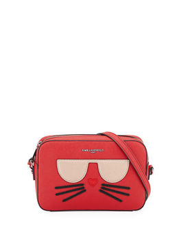 Maybelle Saffiano Leather Crossbody Bag With Choupette Cat Face by Karl Lagerfeld Paris