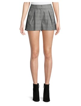 Kevlyn Pleated Side Stripe Plaid Shorts by Joie