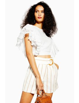 White Broderie Frilly Crop Top by Topshop