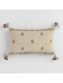 Stonewashed Green Embroidered Lumbar Pillow by World Market