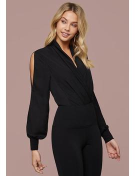 Long Sleeve Wrap Bodysuit by Bebe