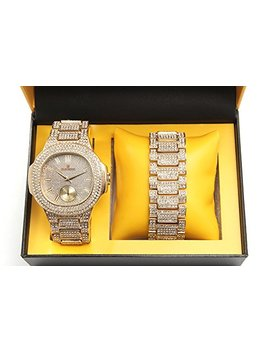Bling Ed Out Oblong Case Metal Mens Watch W/Matching Bling Ed Out Bracelet Gift Set   8475 B   Gold/Gold by Charles Raymond