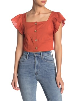 Short Flutter Sleeve Top by Planet Gold