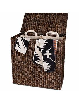 Designer Wicker Laundry Hamper With Divided Interior And Laundry Basket Bags   Espresso Water Hyacinth Hamper With Lid, Includes Two Removable Laundry Liners And Delicates Mesh Laundry Bag by B&C Home Goods