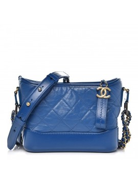 Chanel Aged Calfskin Quilted Small Gabrielle Hobo Blue by Chanel