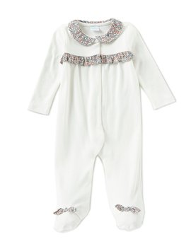 Baby Girls Newborn 6 Months Made With Liberty Fabrics Ruffle Footed Coveralls by Edgehill Collection