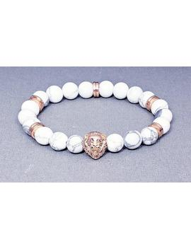 Men's Rose Gold Lionhead Gemstone Bracelet| Men's White Howlite Rose Gold Bead Bracelet| Men's Leo Bracelet| Men's Lion Bracelet by Etsy