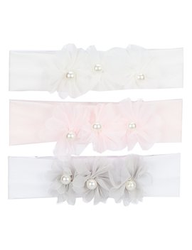 Baby Girls 3 Pack Pearl Organza Flower Headwrap Set by Starting Out