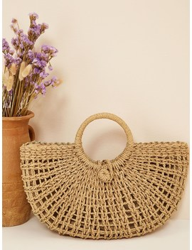 Plaited Detail Tote Bag With Ring Handle by Romwe
