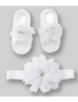Baby Girls Flower/Pearl Headwrap &Amp; Sandals by Starting Out