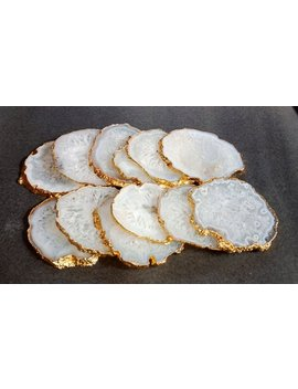 """<Span Data Inner Title="""""""">Agate Coasters White Agate Coasters With Silver Or Gold Electroplated.Stone Coasters Quartz Coasters Drink Ware Coasters Set Home Decor</Span> by Etsy"""