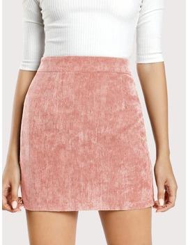 Zip Back Corduroy Bodycon Skirt by Romwe