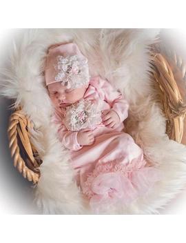 """<Span Data Inner Title="""""""">Newborn Girl Coming Home Outfit, Newborn Girl Gown, Pink Coming Home Outfit, Baby Girl Take Home Outfit, Newborn Girl Layette</Span> by Etsy"""