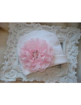 """<Span Data Inner Title="""""""">White Infant Baby Girl Beanie Hat With Chiffon Flower And Rhinestone</Span> by Etsy"""